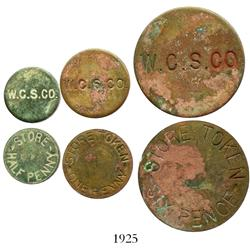 Turks & Caicos, lot of 4 brass merchant tokens for the West Caicos Sisal Company in denominations of