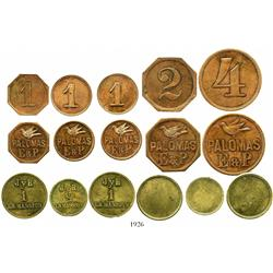 Lot of 8 hacienda tokens as follows: five in copper for Palomas E & P (Eraso & Pereira, Aragua state