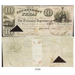 Government/Republic of Texas $10 treasury note signed by Sam Houston, dated 1837.