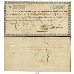 Republic of Texas $150 treasury warrant dated 1838 for military pay to the heirs of a soldier killed