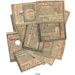 Lot of 14 Massachusetts colonial notes dated May 5, 1780, in denominations of $2, $3, $4, $5 (2), $7