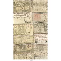 Lot of 14 state colonial notes issued by Connecticut (1), Delaware (1), Georgia (1), Maryland (1), M
