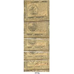 Lot of 10 U.S. Continental Currency notes issued in denominations of 1/3 of a dollar up to fifty dol