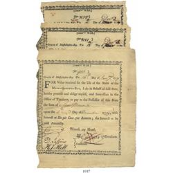 Lot of 3 Massachusetts Bay War Committee treasury certificates, dated January 16 and December 12, 17