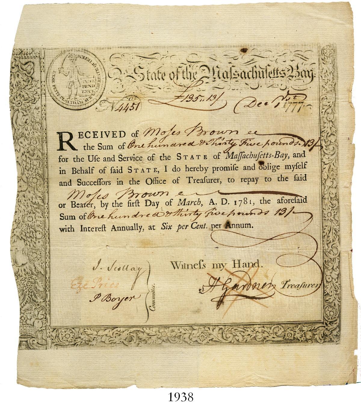 certificate treasury 1777 december pounds dated loan massachusetts amount bay money