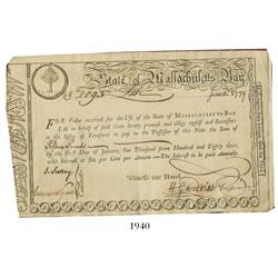 State of Massachusetts Bay Treasury third-class lottery certificate, dated June 1, 1779, in the amou
