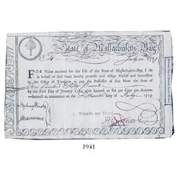 State of Massachusetts Bay Treasury second moiety lottery certificate, dated July 20, 1779, in the a