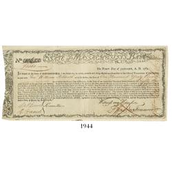 Massachusetts Bay commodity bond, dated January 1, 1780, in the amount of 1060 pounds, serial #10655