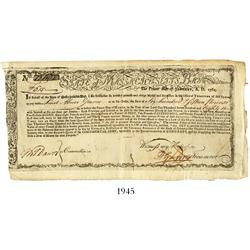 Massachusetts Bay commodity bond, dated January 1, 1780, in the amount of 615 pounds, serial #12682.