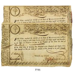 Lot of 2 State of Massachusetts Bay fourth class lottery notes, dated February 5, 1780, in the amoun