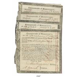 Lot of 5 Commonwealth of Massachusetts Treasury certificates, dated January 1, 1782, various amounts