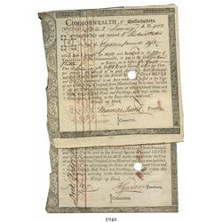 Lot of 2 Commonwealth of Massachusetts Treasury certificates, dated January 1, 1782, in the amounts