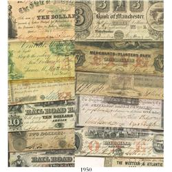 Lot of 13 US  broken banknotes  in denominations of 50 cents to $10 each, dated from 1810 to 1871.