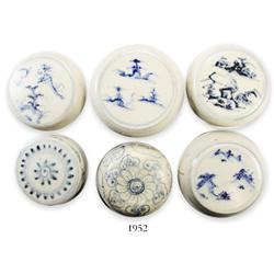 Lot of 6 Chinese blue-on-white porcelain lidded power-boxes with original auction tags and certifica
