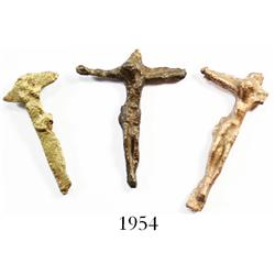 Lot of 3 brass crucifixes.
