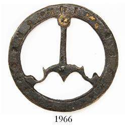 Brass pocket sundial ring, rare.