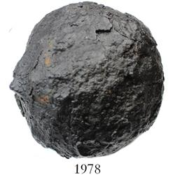 Intact iron cannonball (5-pounder), professionally conserved.