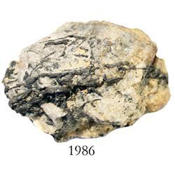 Natural silver ore in rock matrix.