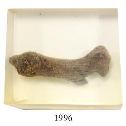 Miniature clay  tonalaware  figurine: small dog (in Lucite).