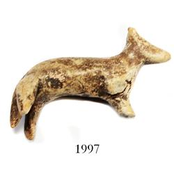 "Miniature clay ""tonalaware"" figurine: nearly intact dog."
