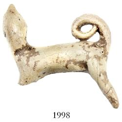 "Miniature clay ""tonalaware"" figurine: large dog with curly tail and long neck."
