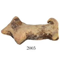 Miniature clay  tonalaware  figurine: tiny dog with curved tail.