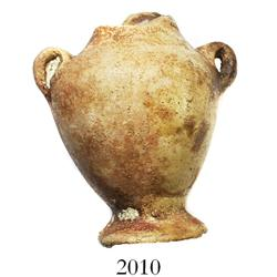 "Miniature clay ""tonalaware"" figurine: two-handled urn (top edge missing)."
