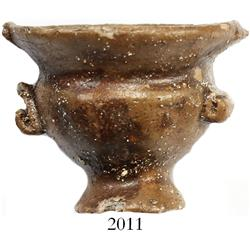 "Miniature clay ""tonalaware"" figurine: wide-mouth, two-handled urn."