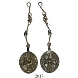 Brass religious medallion with 4 original links.