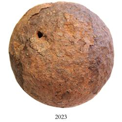 Large iron cannonball (33 lb), unconserved.