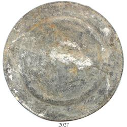 Intact pewter plate.