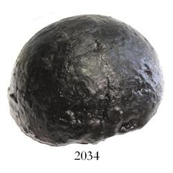 "Hemispherical half of an iron barshot (4""), professionally conserved."