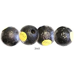 "Lot of 4 small cannonballs (1-1/2""), professionally conserved."