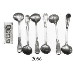 Lot of 6 small pewter spoons.