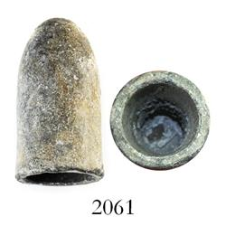 "Civil War-period lead bullet, .577 Enfield ""L"" cavity, in Riker box."
