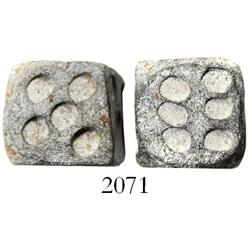 Ancient Roman lead dice (pair), 1st-3rd century AD(?).