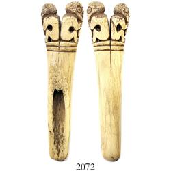 Pre-Columbian carved bone whistle found in Central America.