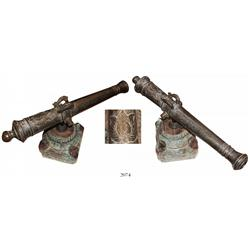 Dutch Indonesian bronze swivel cannon, mid-1600s, vintage base.