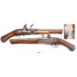Northern Italian (Brescia) flintlock pistol, signed Ponsino Borgogno, ca. 1730-50, rare.