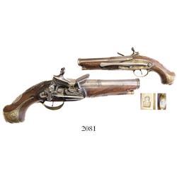 Spanish miquelet flintlock pistol, ca. 1760-80, silver furniture, with belt-clip, rare.