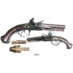 Northwest French (Rennes) side-by-side double-barrel flintlock pistol, ca. 1770, maker Tourjon.