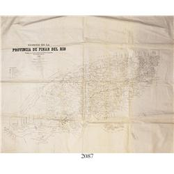Spanish-American War in Cuba (1898), topographic campaign map on cloth of the province of Pinar del
