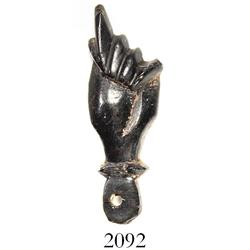 Jet  higa  (fist-shaped talisman), Spanish colonial (1600s?).