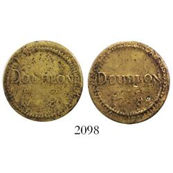 "Brass coin weight for a ""doublon"", 17 dineros and 8 granos, probably French (1700s?)."