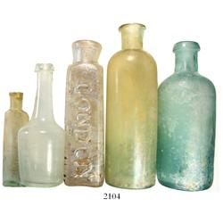 Lot of 5 glass medicine bottles, ca. 1850, found in and around the Florida Keys.