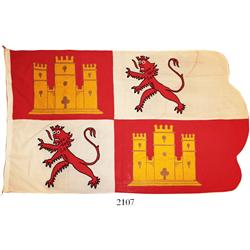 Hand-sewn Spanish Castile and Leon flag used ca. 1950 at the McKee Treasure Museum in Plantation, ra