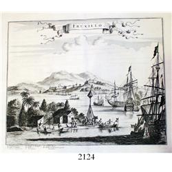 "1671 English engraving by John Ogilby entitled ""Truxillo,"" depicting the city of Trujillo, Honduras."