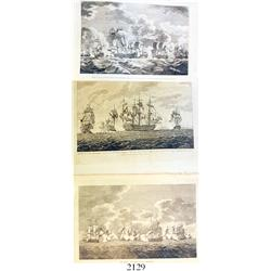 Lot of three late-1700s English engravings showing ships in battle in 1757-9.