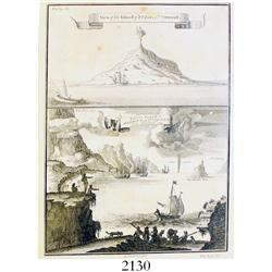 "Lot of two late-1700s English engravings: one by G. Child with two scenes entitled ""View of the Isla"