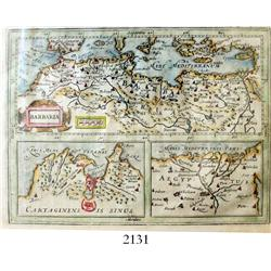 1619 Dutch three-map suite (copper-plate engravings) of the northern coast of Africa by Jodocus Hond